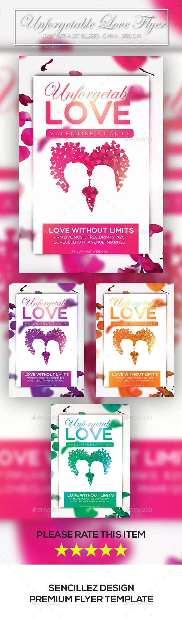 Unforgettable Love Flyer - Clubs & Parties Events