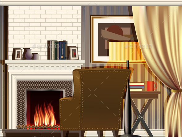 Room with Fireplace - Man-made Objects Objects