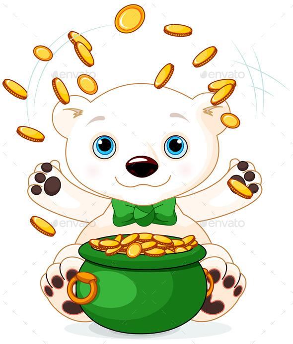 Polar Bear Juggles Gold Coins - Animals Characters