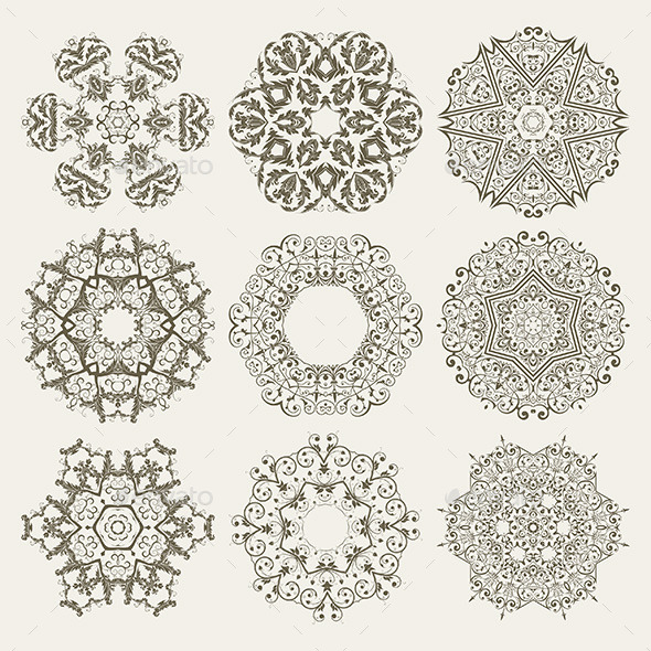 Guilloche Floral Elements - Patterns Decorative