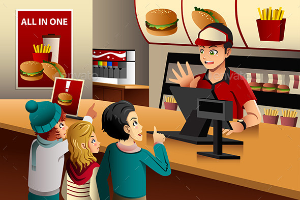 Kids Ordering Food at a Restaurant - People Characters