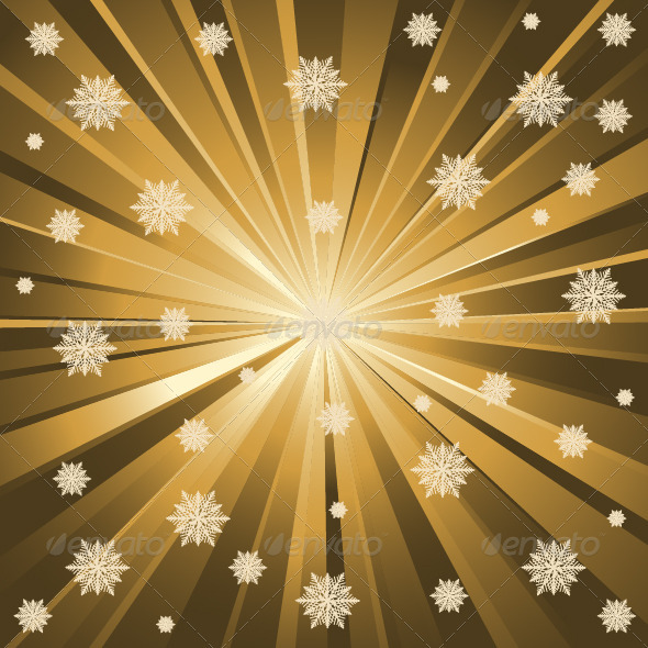 Gold Background And Snowflakes - Backgrounds Decorative