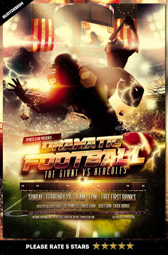 Dramatic American Football Flyer Template - Sports Events