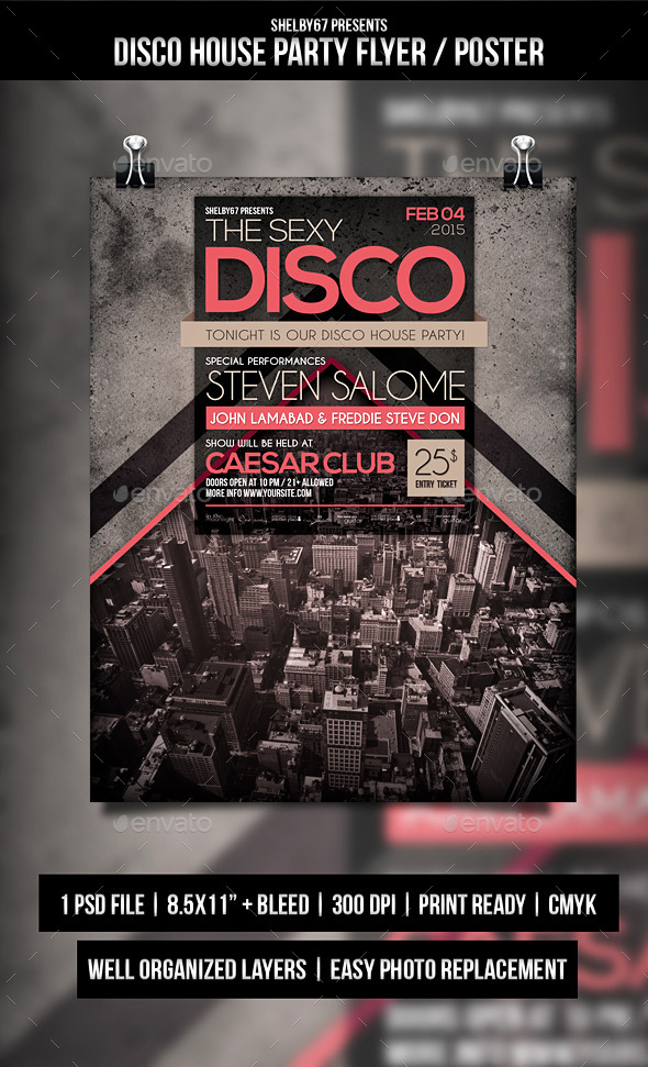 Disco House Party Flyer / Poster - Events Flyers