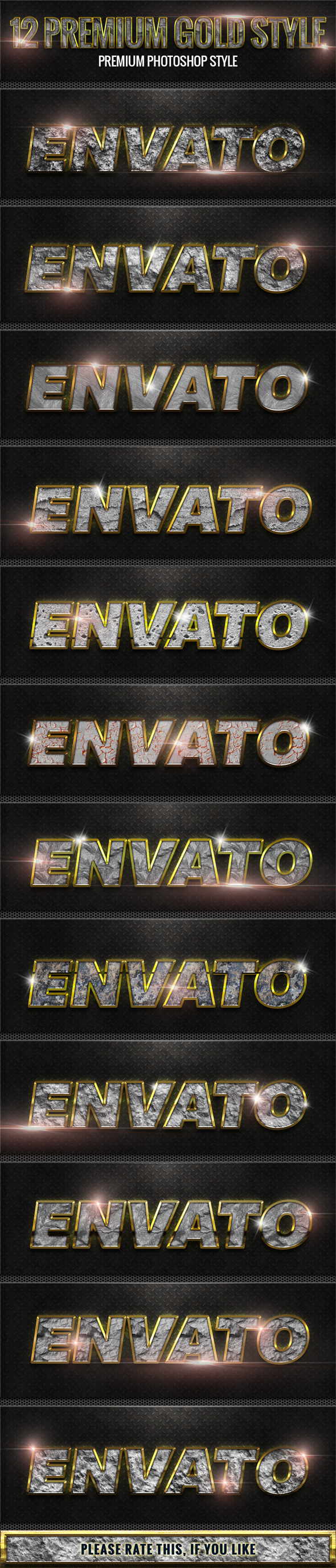 12 New Rock With Gold Style - Styles Photoshop