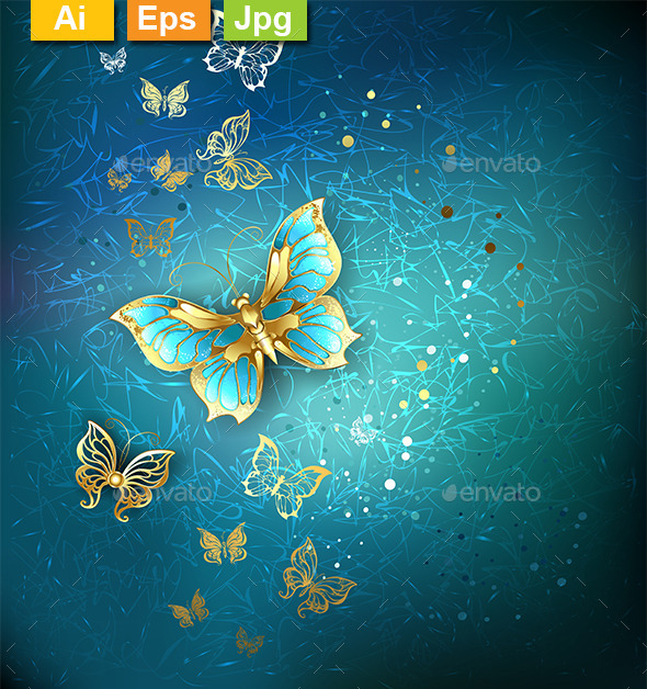 Luxury Gold Butterflies - Backgrounds Decorative