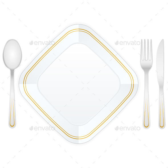 Cutlery and Plate - Food Objects