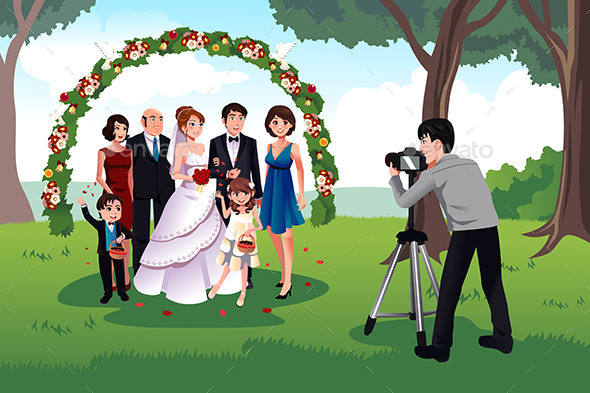 Man Photographing a Family in a Wedding - Weddings Seasons/Holidays