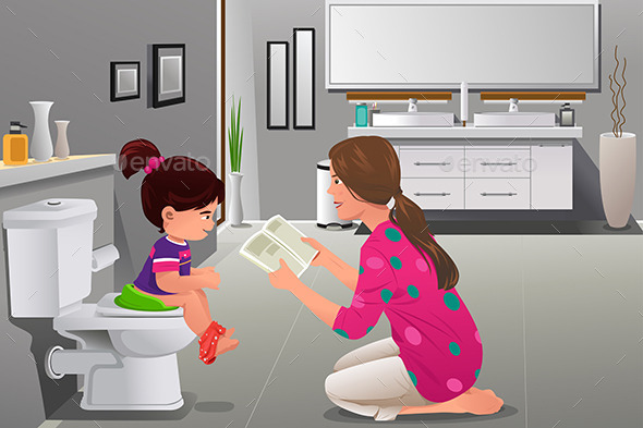 Girl Doing Potty Training with Her Mother Watching - People Characters