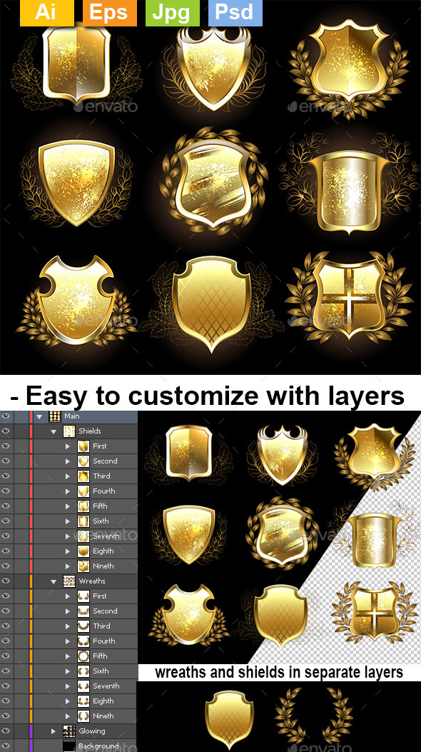 Set of Golden Shields - Decorative Symbols Decorative