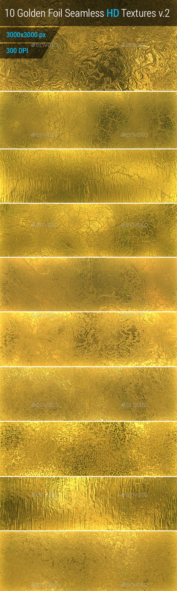 Golden Foil Seamless HD Textures Set v.2 - Metal Textures