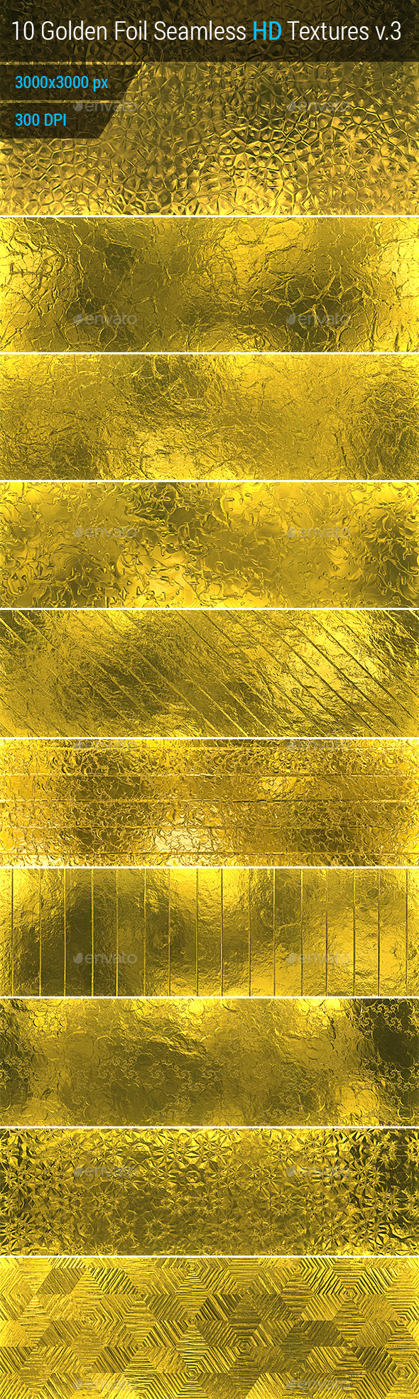 Golden Foil Seamless HD Textures Set v.3 - Metal Textures