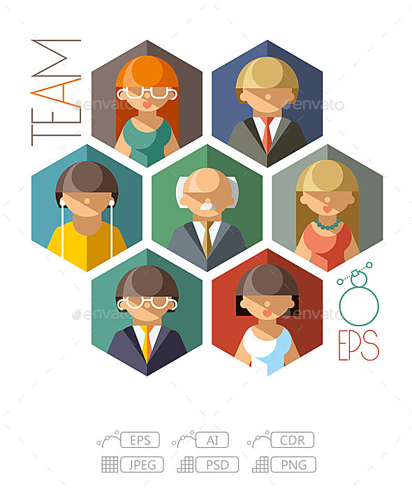 Flat Office Team - People Characters