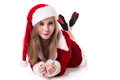 Beautiful Woman In Santa Costume Lying On White Background - PhotoDune Item for Sale