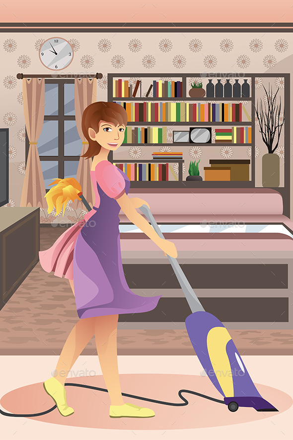 Happy Woman Vacuuming Carpet - People Characters