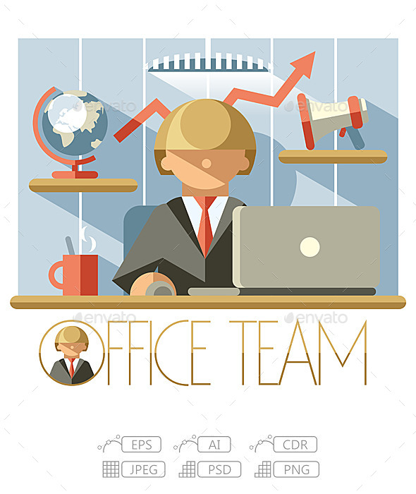 Flat Office Team Director - People Characters