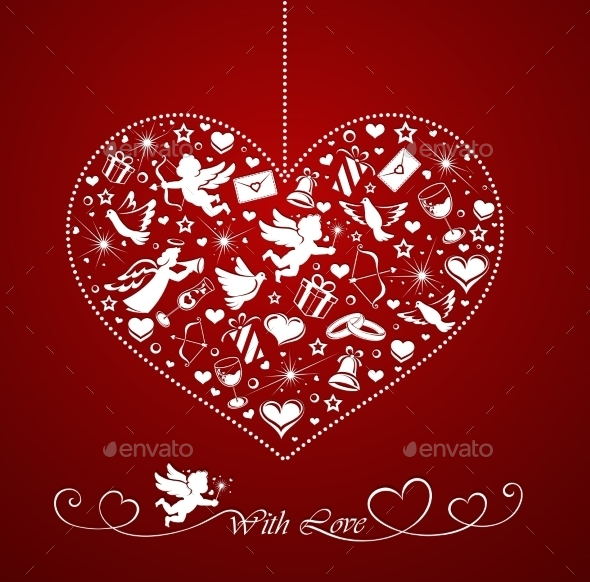 Heart with Set of Icons - Valentines Seasons/Holidays