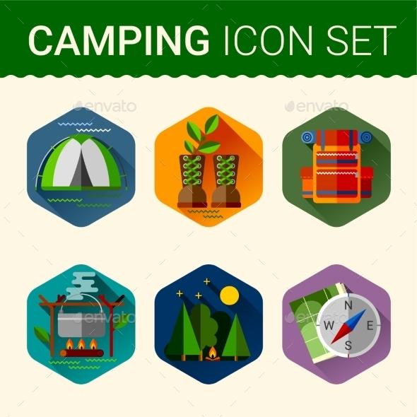 Camping Symbols - Travel Conceptual