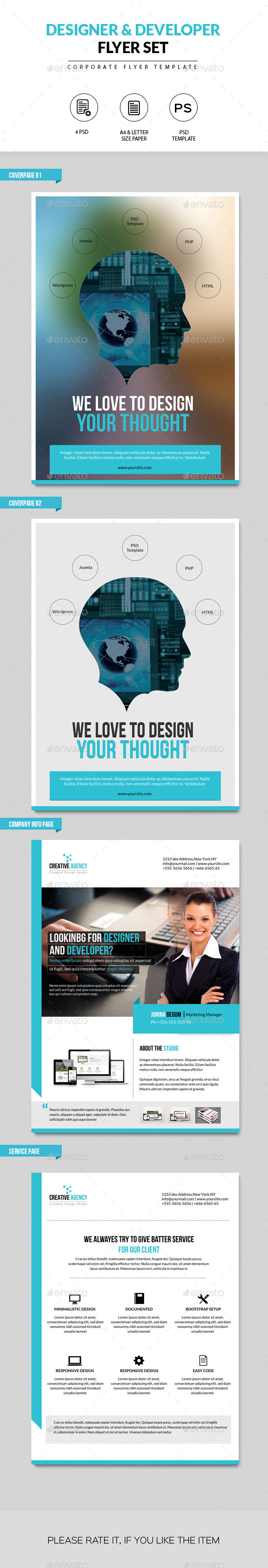 Flyer Set for Designer and Developer  - Corporate Flyers