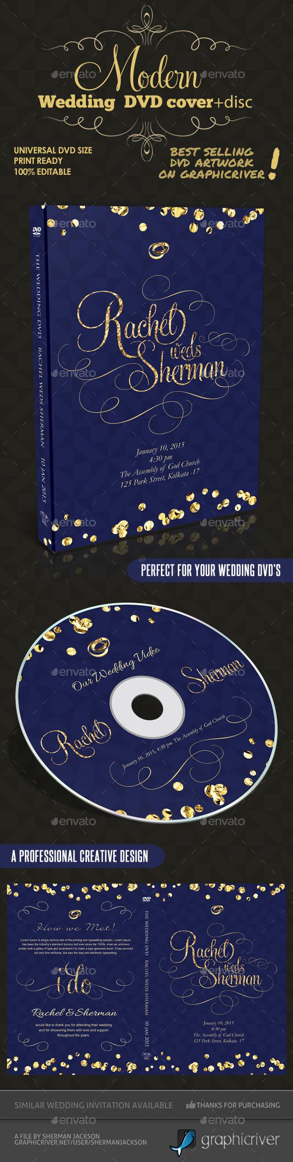 Modern Wedding DVD Cover & Disc Template - CD & DVD Artwork Print Templates