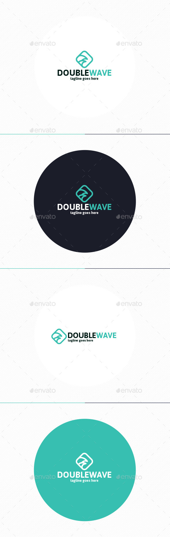 Double Wave Logo  - Vector Abstract