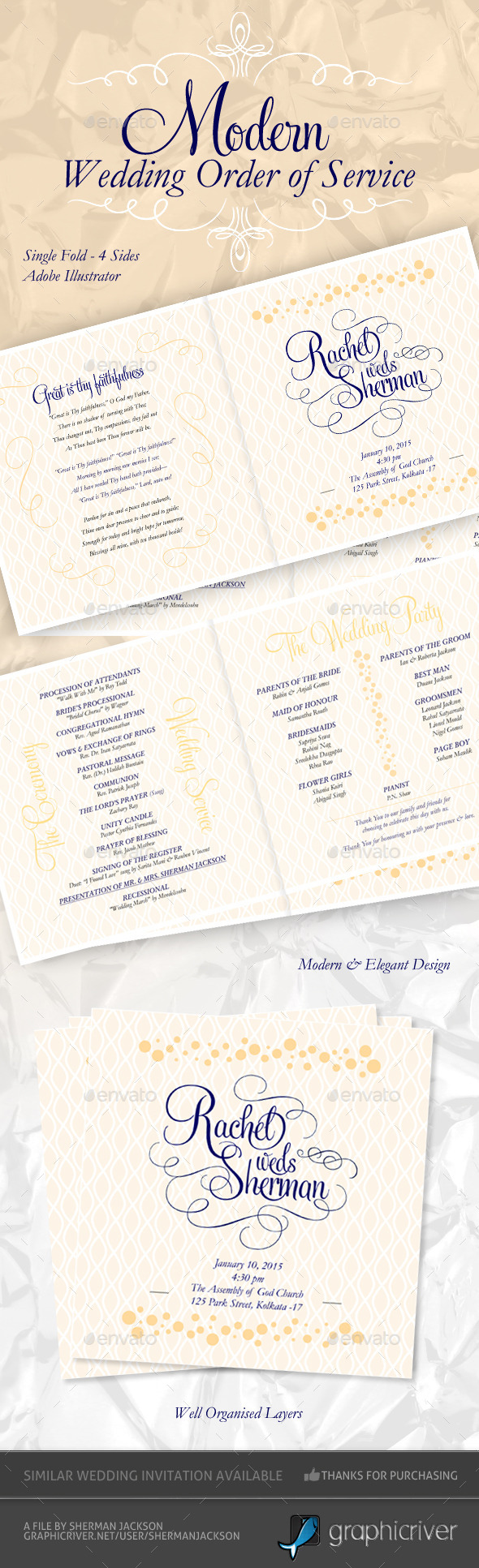 Modern & Elegant Wedding Order of Service - Weddings Cards & Invites