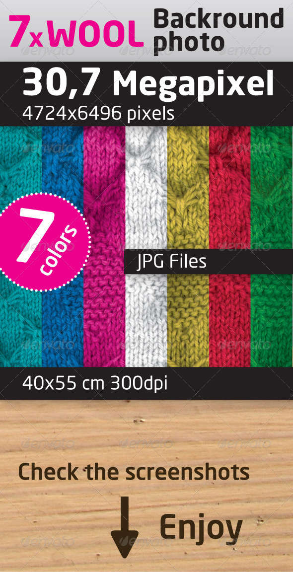 Wool Texture, Background in 7 Colors - Fabric Textures