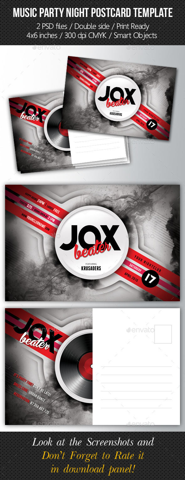Music Night Party Postcard Template V01 - Cards & Invites Print Templates