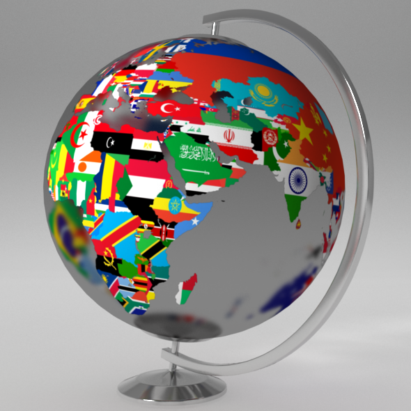 Earth Globe (World Map With Flags) By UMURdesign