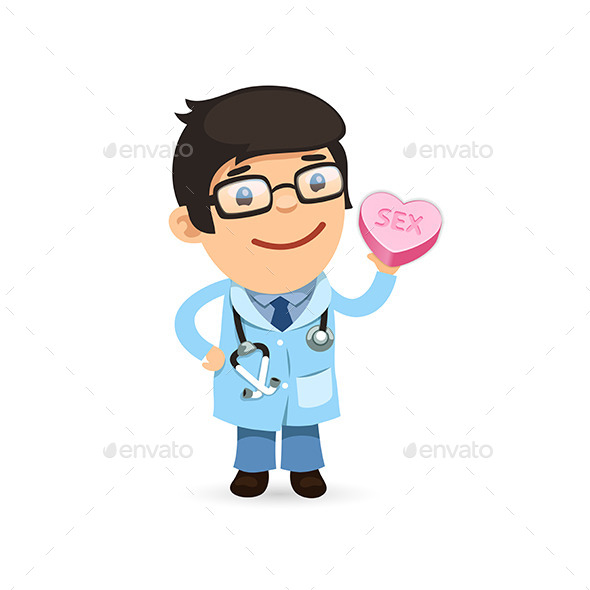 Valentines Day Poster with Doctor - Health/Medicine Conceptual