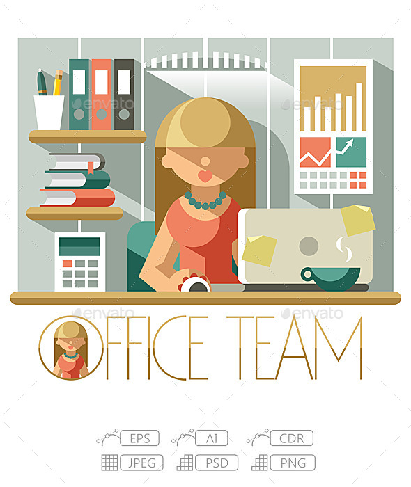 Flat Office Team Accountant - People Characters