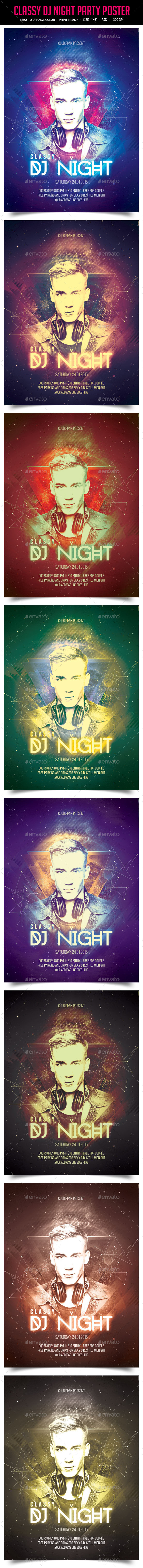 Classy Dj Night Party Poster - Clubs & Parties Events