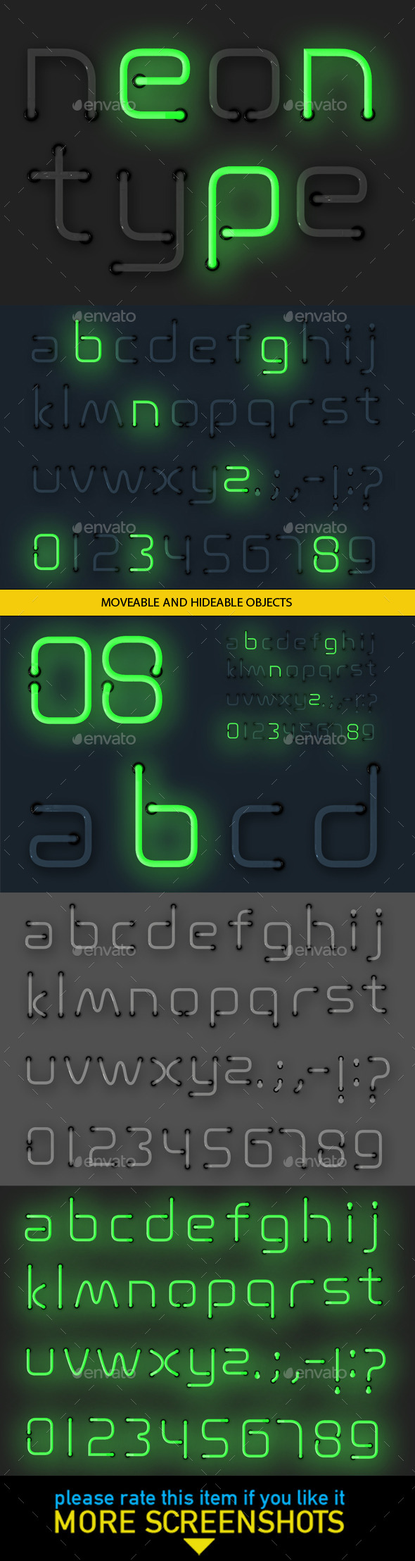 Neon Alphabet - Decorative Symbols Decorative