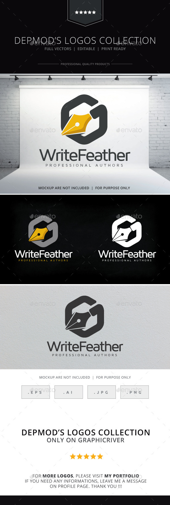 Write Feather Logo - Objects Logo Templates