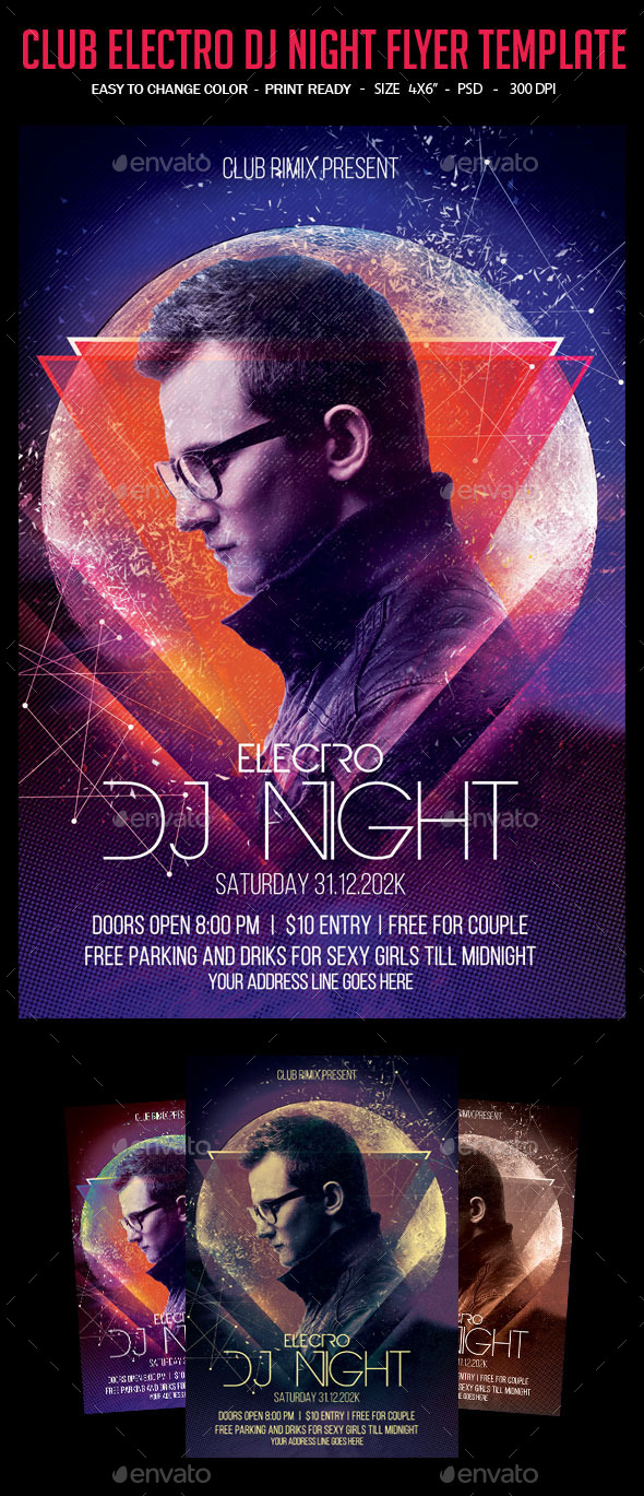 Club Electro Dj Night Flyer Template - Clubs & Parties Events