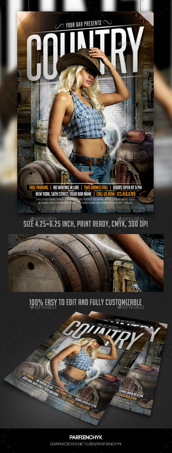 Country Flyer Template - Clubs & Parties Events