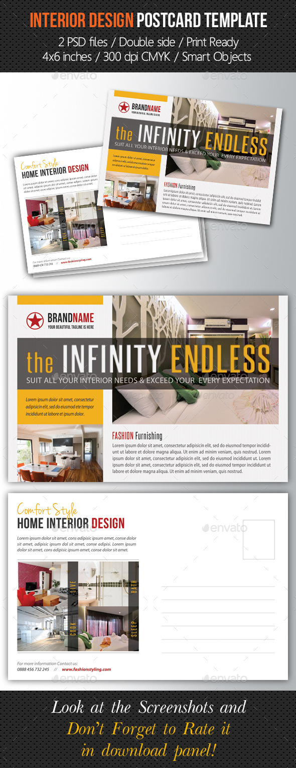 Interior Design Postcard Template V02 - Cards & Invites Print Templates