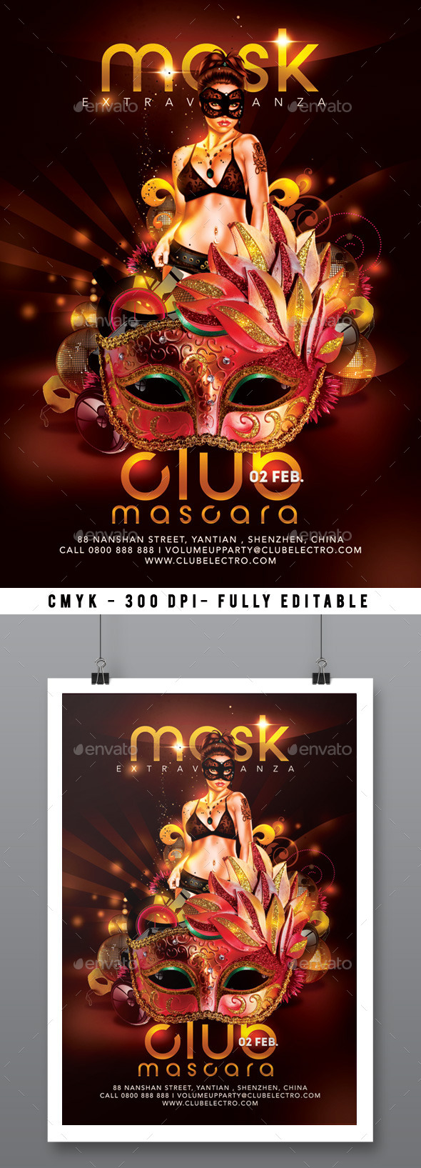 Mask Extravaganza Party In Club Flyer - Clubs & Parties Events