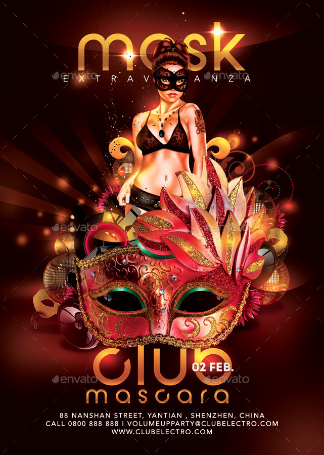 Mask Extravaganza Party In Club Flyer By NN  Graphicriver