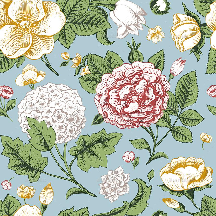 Vintage Classic Floral Pattern Colorful Set