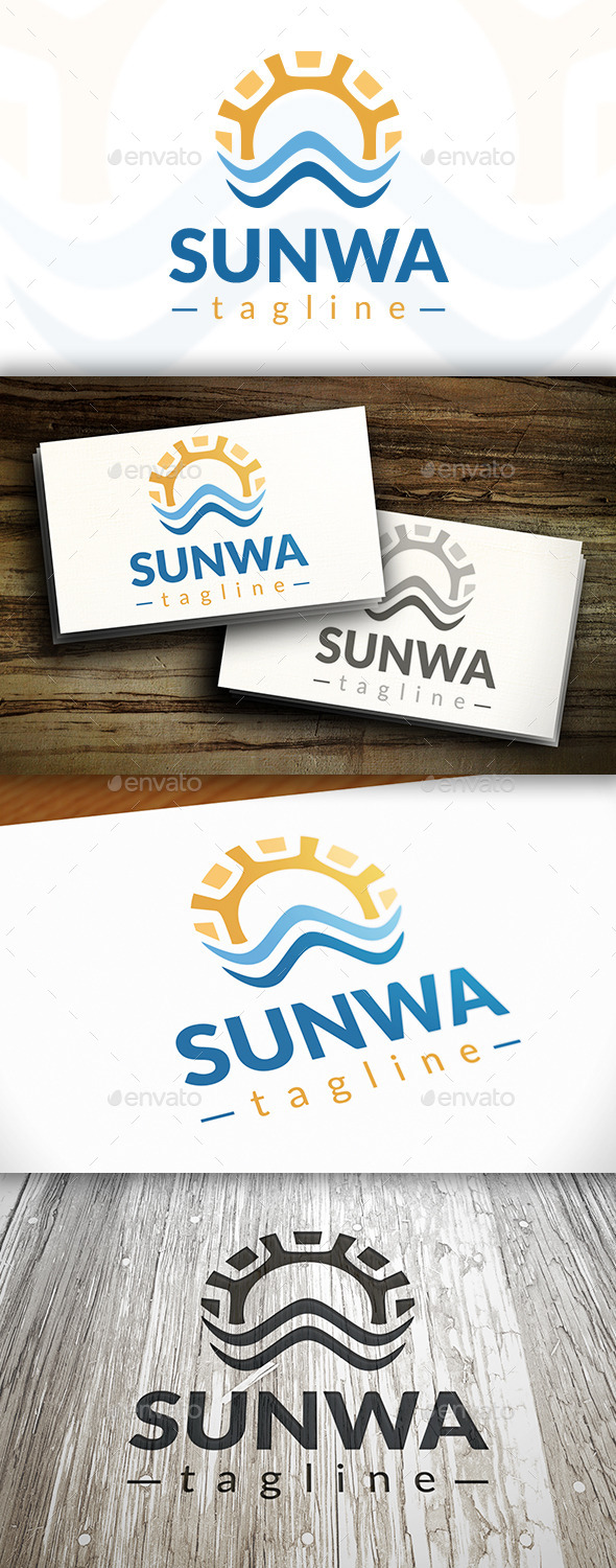 Sun Waves Logo - Nature Logo Templates