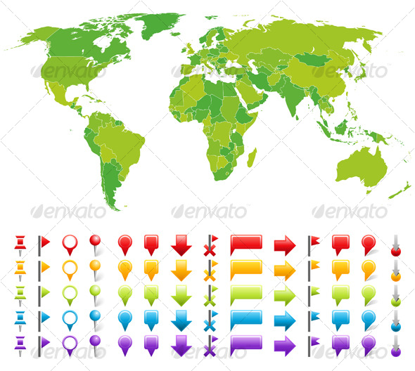 Map with marks - Backgrounds Decorative