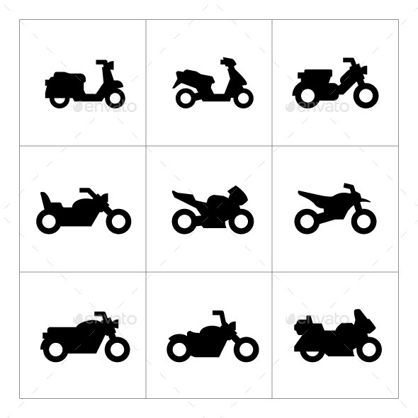 Set Icons of Motorcycles - Man-made objects Objects
