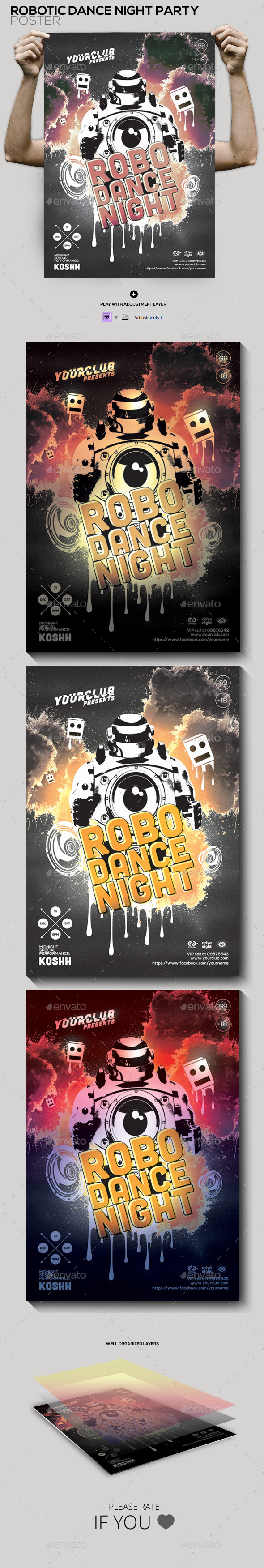 Robotic Dance Night Party Flyer/Poster - Clubs & Parties Events