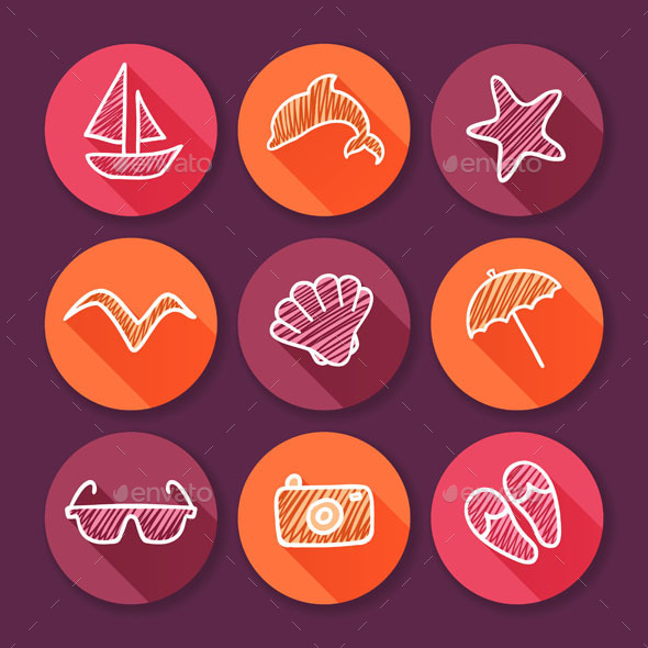 Summer Time and Travel Icons - Web Technology