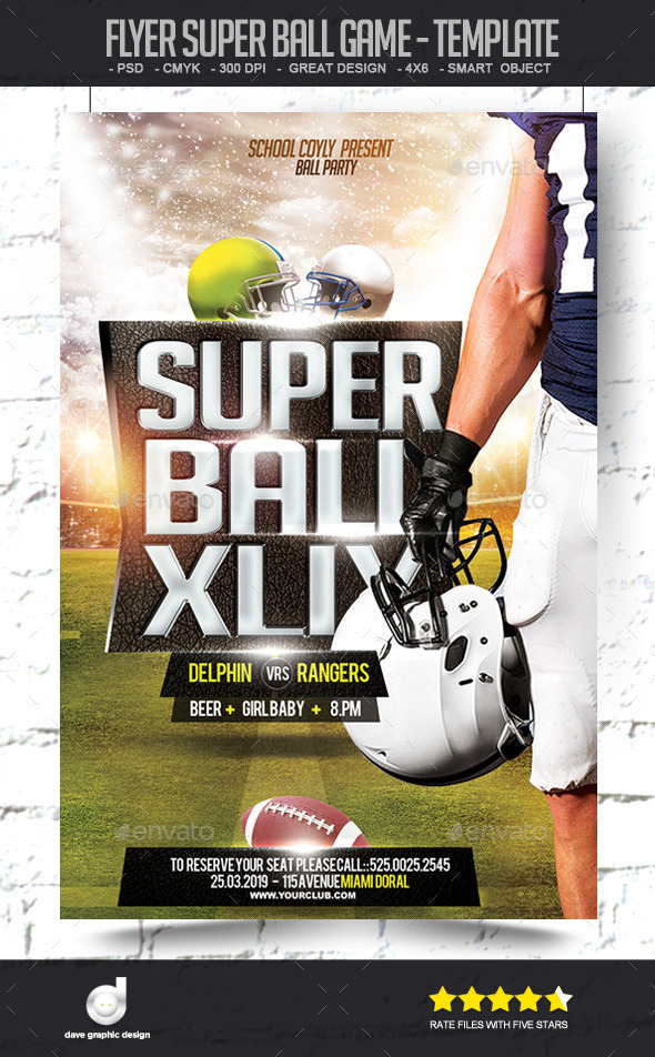 Flyer Super Ball Game - Template - Sports Events