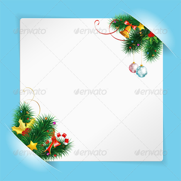 Christmas Frame with Sheet of white Paper Mounted  - Christmas Seasons/Holidays