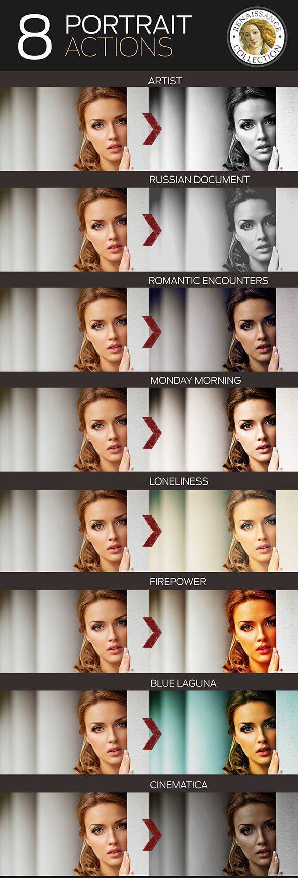 8 Renaissance Portrait Actions for Photoshop - Photo Effects Actions
