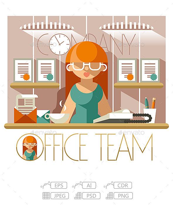 Flat Office Team Secretary - People Characters