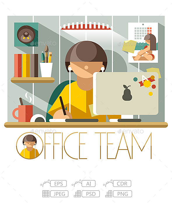 Flat Office Team Designer - People Characters